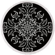 Coffee Flowers 7 Bw Ornate Medallion Round Beach Towel by Angelina Vick