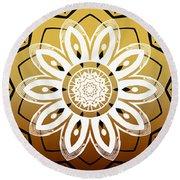 Coffee Flowers Medallion Calypso Triptych 2  Round Beach Towel
