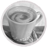 Coffee In Tall Yellow Cup Black And White Round Beach Towel