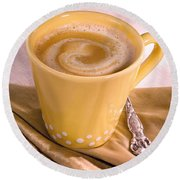 Coffee In Yellow Cup Round Beach Towel