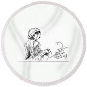 Coffee Lady Round Beach Towel