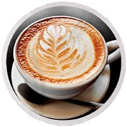 Coffee Latte With Foam Art Round Beach Towel by Elena Elisseeva