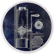 Coffee Mill Patent 1893 Blue Round Beach Towel