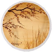 Coffee Painting Cherry Blossoms Round Beach Towel