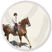 Coffee Saddlebred Round Beach Towel