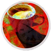 Coffee Time My Time 5d24472m12 Round Beach Towel