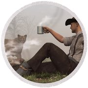 Coffee With A Cougar Round Beach Towel