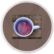Coffee With A Psycho Round Beach Towel