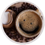 Coffee With A Smile Round Beach Towel