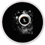 Coffee With Alfred Round Beach Towel