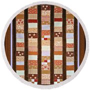 Coin Quilt -  Painting - Brown And White Patches Round Beach Towel