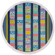 Coin Quilt -  Painting - Multicolors - Borders Round Beach Towel