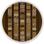 Coin Quilt - Painting - Sepia Patches Round Beach Towel