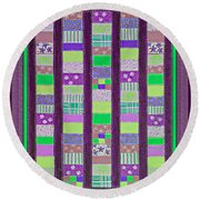 Coin Quilt - Quilt Painting - Purple And Green Patches Round Beach Towel