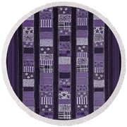 Coin Quilt -quilt Painting - Purple Patches Round Beach Towel