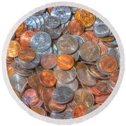 Coins Round Beach Towel