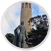 Coit Tower -1 Round Beach Towel