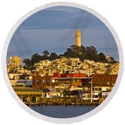 Coit Tower Golden Hour Round Beach Towel