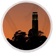 Coit Tower Sunset Round Beach Towel