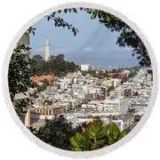 Coit Tower View Round Beach Towel
