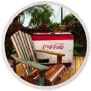 Vintage Coke Machine With Adirondack Chair Round Beach Towel