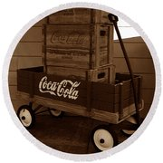 Coke Wagon Round Beach Towel