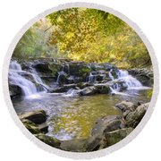 Coker Creek Falls Round Beach Towel