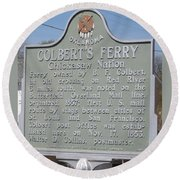 Colbert's Ferry Historical Sign Round Beach Towel