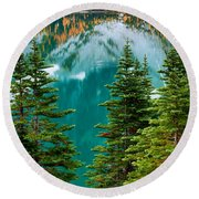 Colchuck Reflection Round Beach Towel