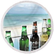 Cold Beers In Paradise Round Beach Towel by Joan  Minchak