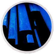 Cold Blue Steel Round Beach Towel
