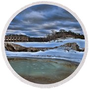 Cold Day At The Beach Round Beach Towel