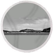Cold Day In The Harbour  Round Beach Towel