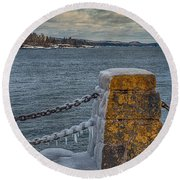 Cold Day On Superior Round Beach Towel