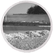 Cold Day On The Pier Round Beach Towel