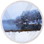 Cold Feet - A Winter Landscape Round Beach Towel