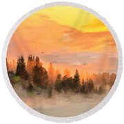 Cold Foggy Spring Morning Round Beach Towel