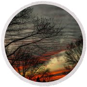 Cold Front Sunset Round Beach Towel