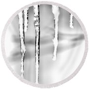 Cold Glistening  Icicles Round Beach Towel