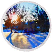 Cold Morning Sun Round Beach Towel by Jeff Kolker