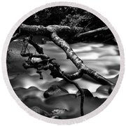Cold Mountain Stream Hdr Work #1 Round Beach Towel