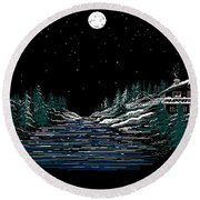Cold Mountain Winter Round Beach Towel