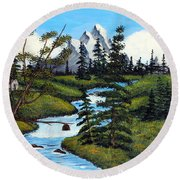 Cold Rattling Brook  Round Beach Towel by Barbara Griffin