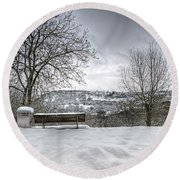 Cold Seat With A View Round Beach Towel