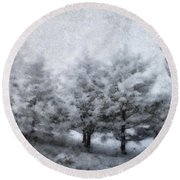 Cold Spell Round Beach Towel