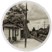 Cold Spring Train Station In Sepia Round Beach Towel
