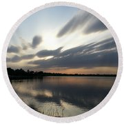 Cold Sunset Round Beach Towel