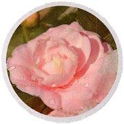 Cold Swirled Camellia Round Beach Towel