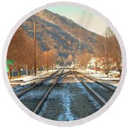Cold Tracks Through Montgomery Round Beach Towel