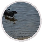 Cold Water Fetch Round Beach Towel